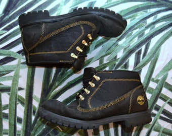 Mens BLACK TIMBERLAND Boots Genuine Leather Hiking Chunky Boots Size 10.5 Waterproof