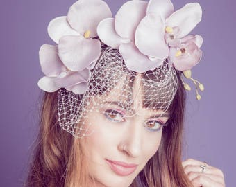 Veiled Orchid Cascade Fascinator in Lilac