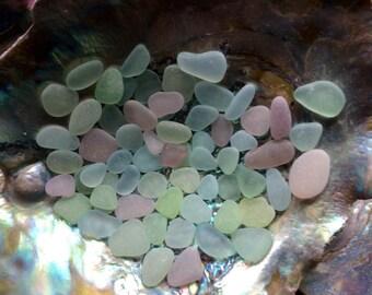 FREE SHIPPING 60 Medium & Small Pastel genuine sea glass PPB-D3-63-F