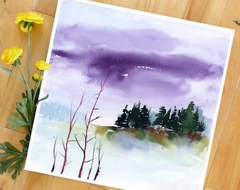 Landscape Art Print, Sky, Watercolor Landscape Print, Landscape Art Print, Modern Art, contemporary art print, Minimalist
