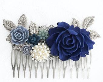 Blue Wedding Comb, Silver Bridal Hair Comb, Sapphire, Navy, Dark Blue Flowers, Rhinestones, Pearl, Romantic Hair Slide, Big, Long Hair Pin