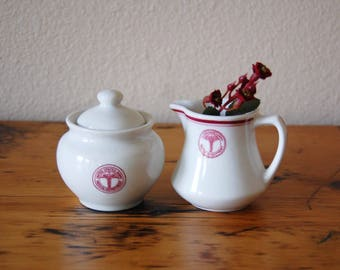 Vintage United States Army Medical Department Creamer and Covered Sugar Bowl Set Vintage Restaurantware from The Eclectic Interior