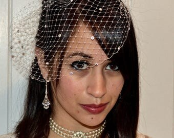 Wedding Veil, Wedding Veil with Crystals, Birdcage Veil White, Birdcage Veil, Bridal Headpiece, Beach Wedding Veil, Marti & Co