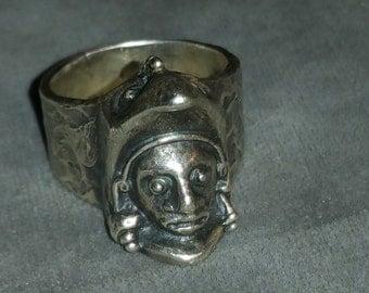 Vintage Sterling silver Artist Signed Sterling silver Face Ring
