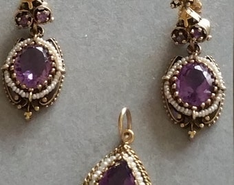 Antique 14kt Gold Amethyst & Seed Pearl Pendant and Earrings Set