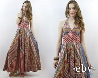 Hippie Dress Hippy Dress Bohemian Dress Festival Dress Boho Dress 1970s Dress Vintage 70s Dress 70s Maxi Dress Halter Dress XS S