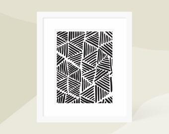 Minimalist Modern Painting / Black and White Scandinavian Art Print / Large Vertical Wall Art / Framed Matted / 18x24 16x20 11x14 8x10 5x7
