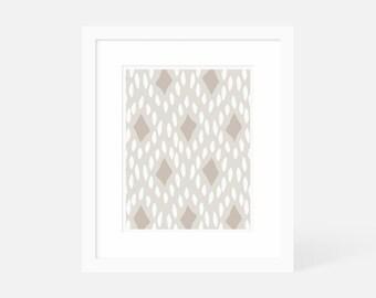 Neutral Modern Art / Mid Century Modern Art Large / Vertical Art Print / 5x7 8x10 11x14 16x20 18x24 / Framed and Matted