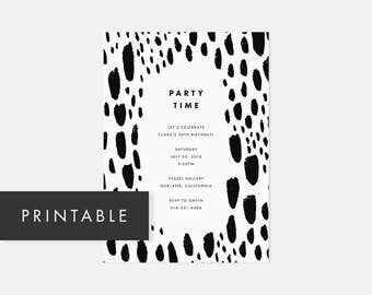 Simple Modern Invite Printable / Party Invitations / Bold Pattern / Black and White / Adult Birthday Party, Graduation Party, Housewarming