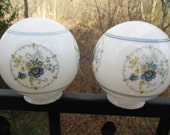 Pair of Vintage Round Milk Glass Blue Floral Glass Lamp Shade Ceiling Lamp Globes