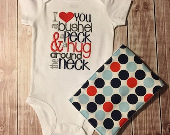 Baby Boy Shower gift  embroidery Love You Bushel onesie and  Burp Cloth