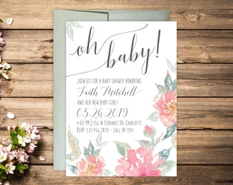 Baby Shower Invitations - Floral Baby Shower Invitations - Printed Oh Baby Invitation Cards - Personalized Floral Baby Shower Invitations