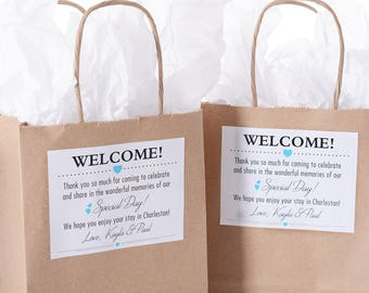Hotel Wedding Welcome Bags - 40 Out of Town Welcome Bags - Hotel Wedding Bags - Personalized Wedding Favor Bags