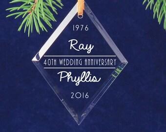 40th Wedding Anniversary Christmas Keepsake Diamond Ornament