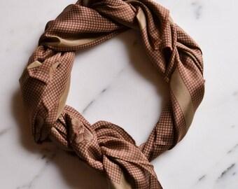 Calvin Klein Silk Scarf, Brown, Tan, Flowers, Long Length