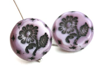 18mm Purple Flower beads, Black Inlays, Czech glass Round tablet floral ornament beads, mixed color - 2pc - 2188