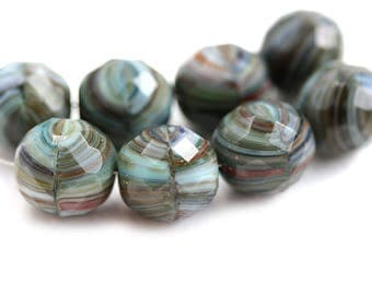 12mm Round Czech Glass beads, Grey Mixed color, earthy fire polished faceted large rounds - 4Pc - 3035