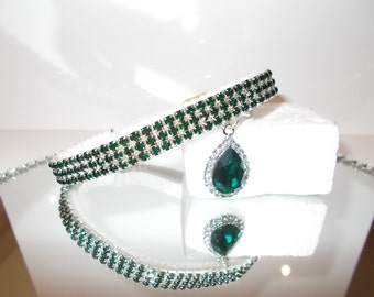 Crystal Emerald green Dog or cat kitten Collar with crystal charm.  Chihuahua ,Yorkie small dog Puppy.