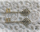 Reneabouquets Key Set Of 2 - Garden Gate Vintage Silver Metal Key, Skeleton Key