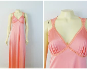 Vintage Nightgown  70s does 30s Vanity Fair Coral Pink Bias Cut Nightgown Lace Trim Size 32 Modern Extra Small to Small