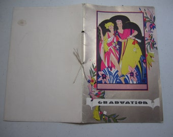 Wonderful Roaring Twenties Graduation Memory Booklet 1926 Brown and Bigelow Art Deco illustrations Flappers and Gents artist Ruth Hoffman