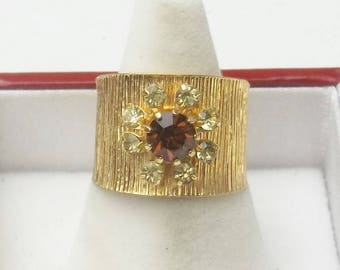 Vintage Sarah Coventry Smoky Quartz Crystal Gold Textured Wide Band 1960's Mid Century Costume Jewelry Ring Gift For Her on Etsy
