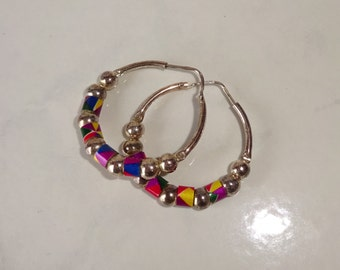 Vintage Sterling Silver Earrings Beaded Hoop Earrings