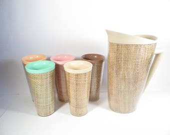 Vintage Burlap Tumblers and Pitcher - Set of 5 Tumblers and Pitcher