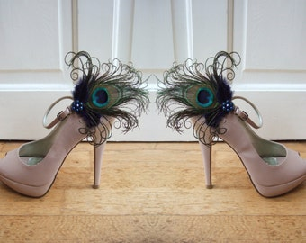 "Bridal Peacock Feathers Navy Blue Shoe Clips / Bag Clips ""Allana"" (Pair) - 2 Days To Make - Bride Bridesmaid Mother of the Bride"