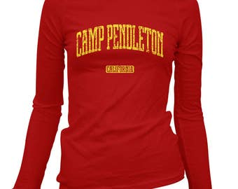 Women's Camp Pendleton California Long Sleeve Tee - S M L XL 2x - Ladies' T-shirt, Gift For Her, Girl, Camp Pendleton Shirt, Marines, USMC