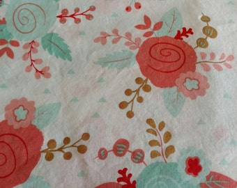 Baby Toddler Fitted Sheet Flowers Peach Coral Green