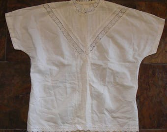 1980's DOES EDWARDIAN style BLOUSE white lace M