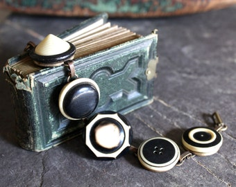 Antique Button Bracelet, Celluloid, warm creams and black, vintage, victorian, assemblage, statement, jewelry, up cycled art deco retro