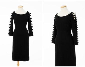 Vintage Peekaboo Dress // 1950s FAB Cut Out Cage Sleeve Little Black Dress Sue Leslie Medium