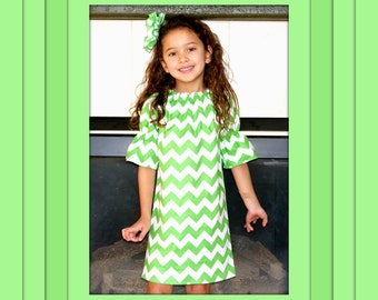 CLEARANCE SALE Girls Green White Chevron Dress, Girls Dress, 3/4 Sleeve Peasant Dress - RTS 2 Left Size 3 & 4