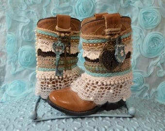 Leather Boho Boots...Toddler Boots...Little Girl Boots...Locket and Key...Rustic Boho...Hippie Boots...Gypsie Boots... Turqoise and Gold...