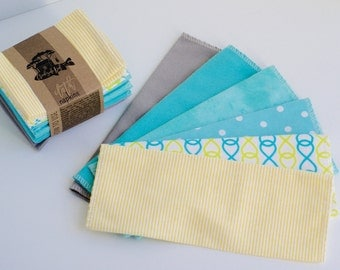 "Unpaper Towels Cloth Napkins 12 Flannel Tissues  - Size (10"" x 12"")  - 1 PLY -  Light and Bright Mix"
