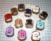 ON SALE PB&J Friends Polymer Clay Charms - Kawaii Happy Face Friend Charm Pendants
