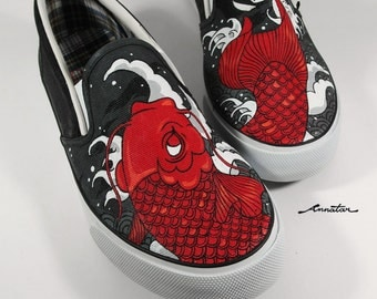 Red Koi tattoo, Annatar original design since 2007, custom shoes, shoes painting.