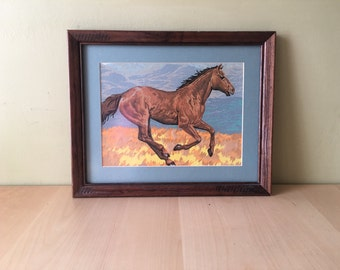 Vintage Horse Paint by Numbers Painting Mare Riding Horses