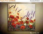 SALE 20% Wildflower Painting ORIGINAL Abstract Thick Painting Palette Knife Impasto Modern Red Poppy Art Home & Office Decor Ready to Ship b