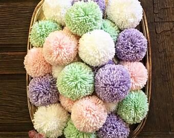 Pom Pom Garland  - Lavender  Mint Deep Purple -  White - Pom Poms Supplies - Nursery Decor - Birthday  - Party Pom Poms