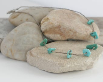 Liquid STERLING Silver Turquoise Vintage Necklace Choker // Vintage Estate Jewelry // fruitsdesbois