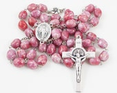 Pink Rosary, Vintage Marbled Austrian Glass Beads, Miraculous Medal Center & St Benedict Crucifix, Hibiscus Flower Our Father Pater Beads