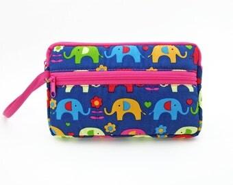Elephant zipper pouch, Wristlet wallet, Cosmetic bag, Cell phone bag, iPhone wallet case, Cotton zipper clutch, Blue clutch