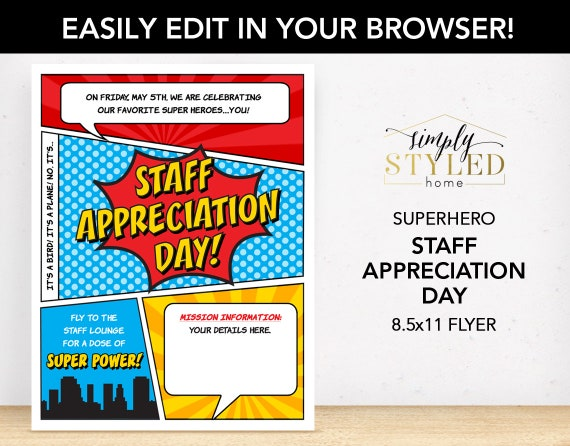 Editable staff appreciation day superhero flyer superhero for Nurses week flyer templates