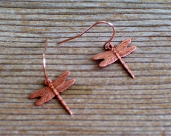 Rose Gold Dragonfly Earrings, Small Dragonfly Earrings, Woodland Earrings, Dragonfly Pierced Earrings, Dragonfly Jewelry, Nature Jewelry