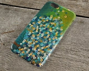 Still Night iPhone Case - Teal & Blue Abstract Tree Painting Unique iPhone Case for iP4, iP5/S/SE, iP5C, iP6/S, iP6+/S, iPod Touch 5