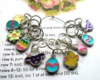 10 Knitting stitch markers Easter