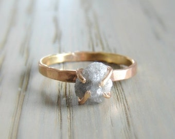 CLEARANCE SALE Raw Diamond Ring, 14K Gold Engagement Ring, Large Rough Diamond Jewelry, April Birthday Gift for Women, Anniversary for Wife,